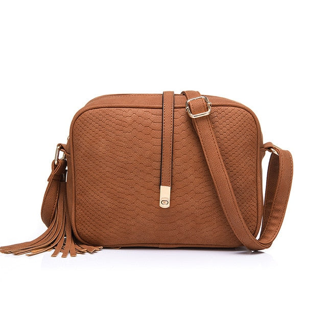 shoulder bag for women messenger bags ladies retro PU leather handbag purse with tassels