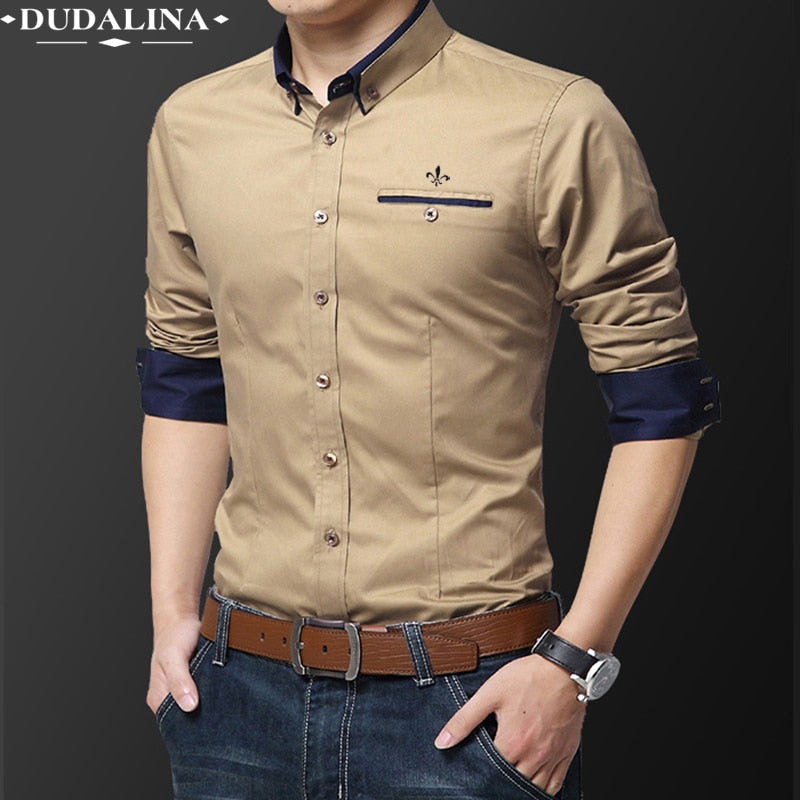 Pocket Fashion Blusa Camisa Social Masculina Dudalina Long Sleeve Slim Fit Shirt Men
