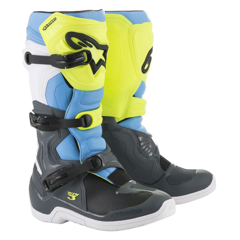 Alpinestars Tech 3 Boots Grey Yellow Fluo Cyan - Even Strokes