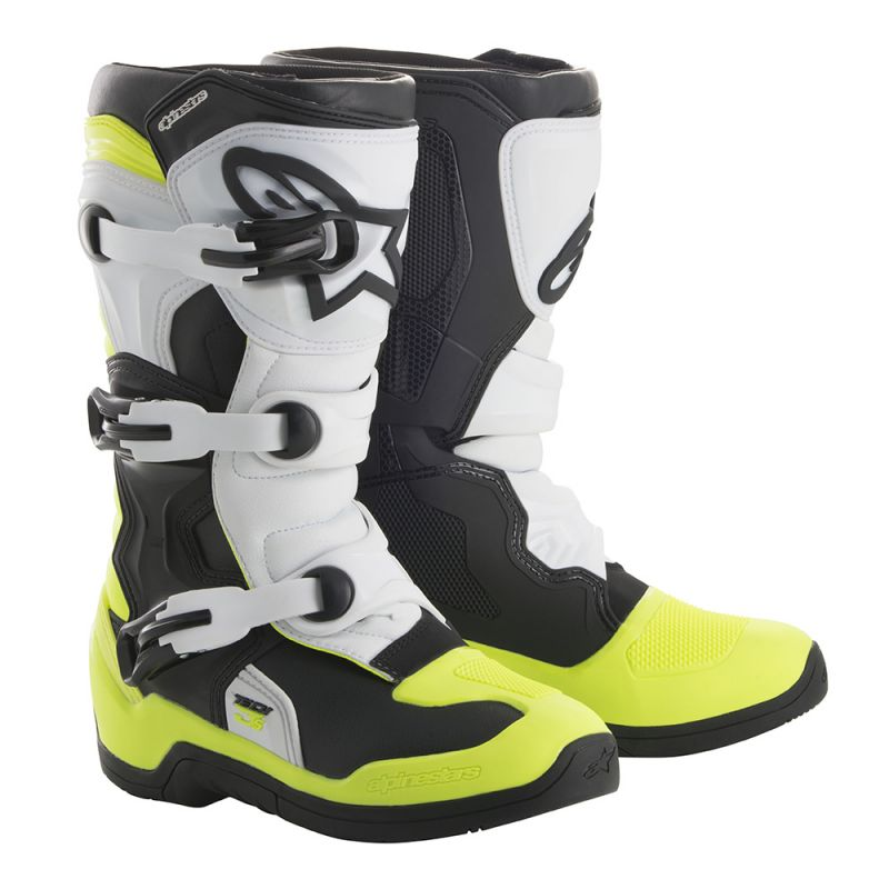 Alpinestars Tech 3S Youth Boots Black White Yellow Fluo - Even Strokes