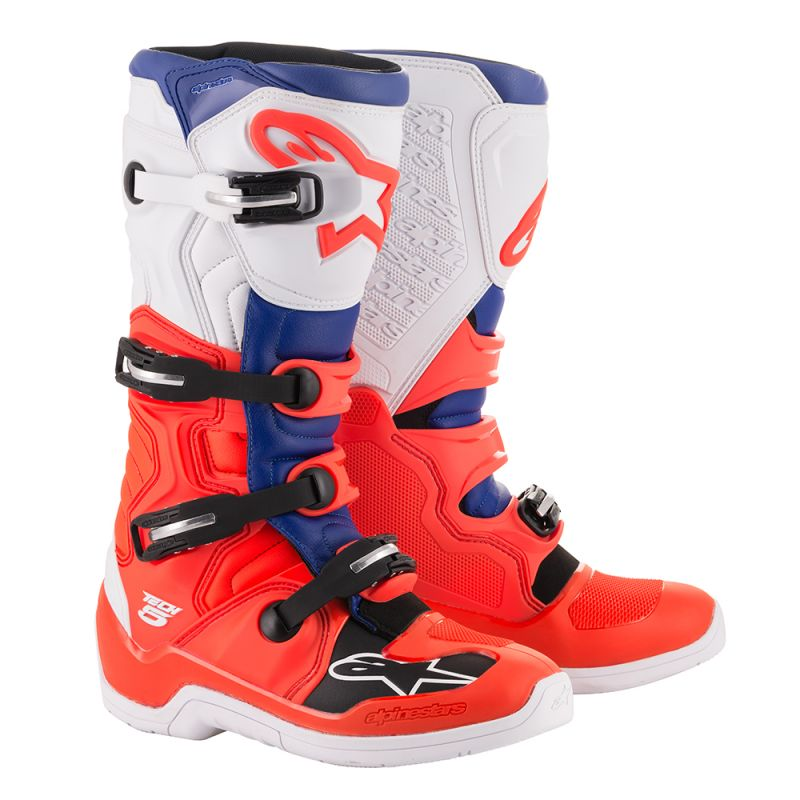 Alpinestars Tech 5 Boots Red Fluo Blue White - Even Strokes