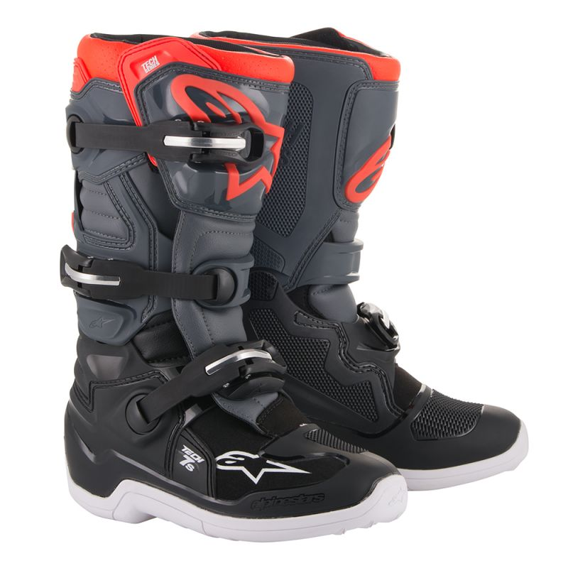 Alpinestars Tech 7S Youth Boots Black Dark Grey Red Fluo - Even Strokes