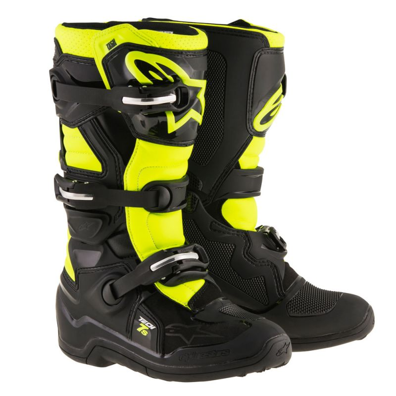 Alpinestars Tech 7S Youth Boots Black Fluo Yellow - Even Strokes
