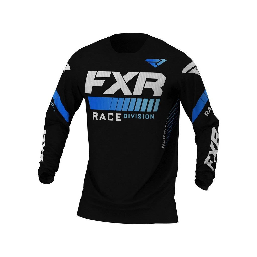 FXR Pro-Stretch Youth Jersey MX21 Black Blue - Even Strokes