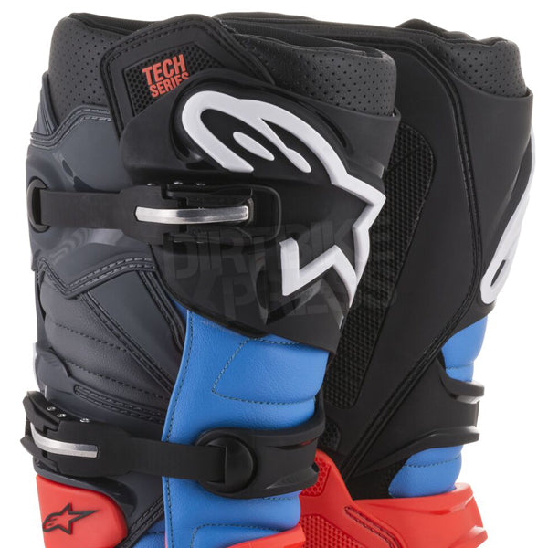 Alpinestars Tech 7 Boots Red Fluo Cyan Grey Black - Even Strokes