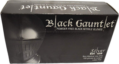ShuBee Black Gauntlet Silver Edition Black Nitrile Gloves, Powder Free, Large