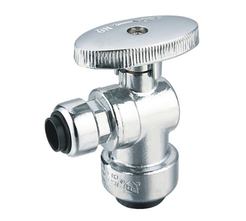 "Angle Stop Valve, 1/4 Turn, 1/2"" Push Fit x 1/4"" Push Fit (3/8"" OD)"