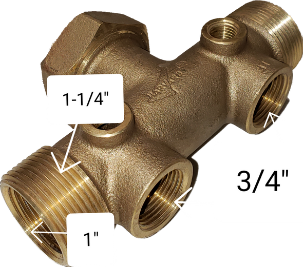 "Pressure Tank Tee Union, 1-1/4""x14"", Water Well, LF Brass, You Pick the Square D"