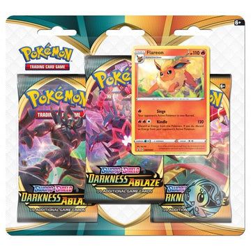 Pokemon Sword & Shield Darkness Ablaze 3 Pack Blister