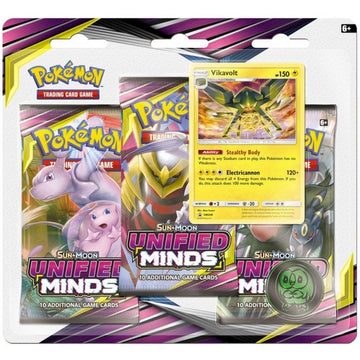 Pokemon TCG Sun & Moon Unified Minds 3 Pack Blister Vikavolt