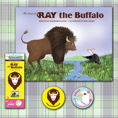 "Package Deal:  ""The Story of RAY the Buffalo"" Book, Bookmark, Ray button, and Emily button"