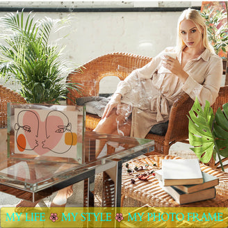 Kluger Punkt Photo Frame 4x6 My Life My Style My Photo Frame Beautiful woman in Glamour surranding next to crystal clear photo frame with rose picture inside.