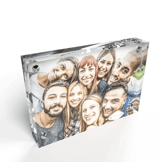 Kluger Punkt Photo Frame of Acrylic Glass showing Portrait of 8 Smiling Friends.