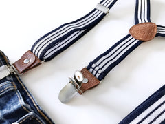 Striped Clip-on Suspenders
