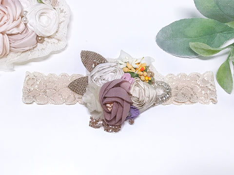 Ivory and Mauve Vintage Headband