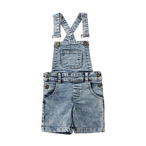 Unisex Distressed Denim Overall Shorts
