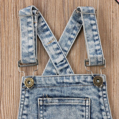 Distressed Denim Overalls Shorts