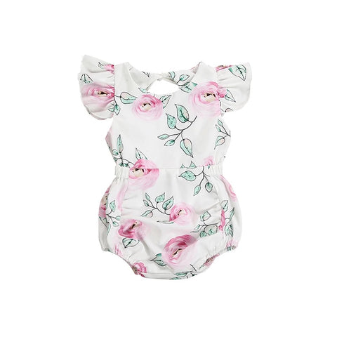 Floral Open Tie-Back Bubble Romper