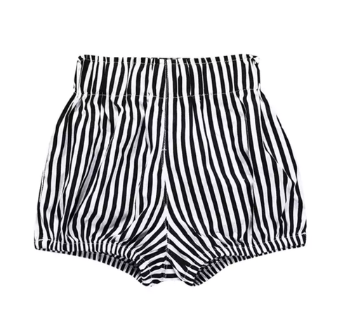 Girl's Black and White Striped Bubble Shorts