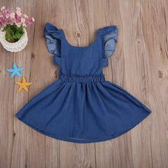 Girl's Denim Flutter Sleeve Tie Back Dress