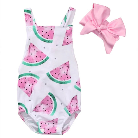 Watermelon Cross-Back Bubble Romper & Headband Set