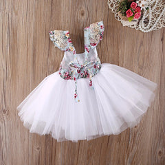 Girl's Floral Chiffon Ruffle Sleeve Dress