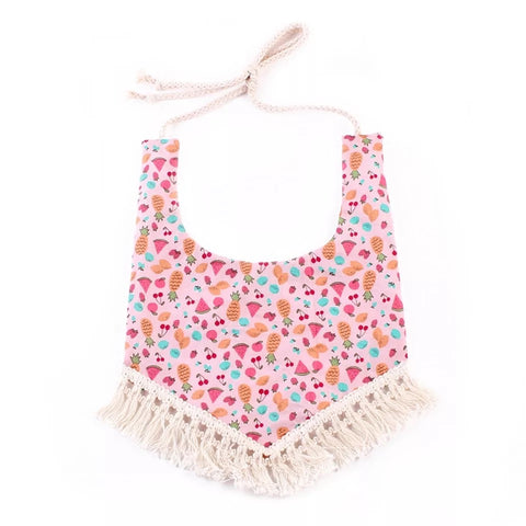 Tropical Fruit Pink Tassle Bibs
