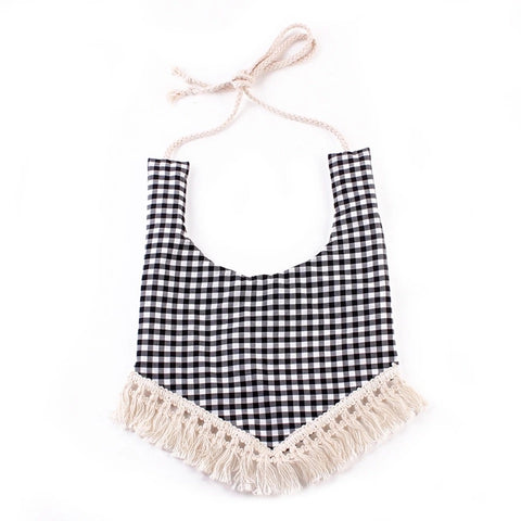 Black and White Plaid Tassle Bibs