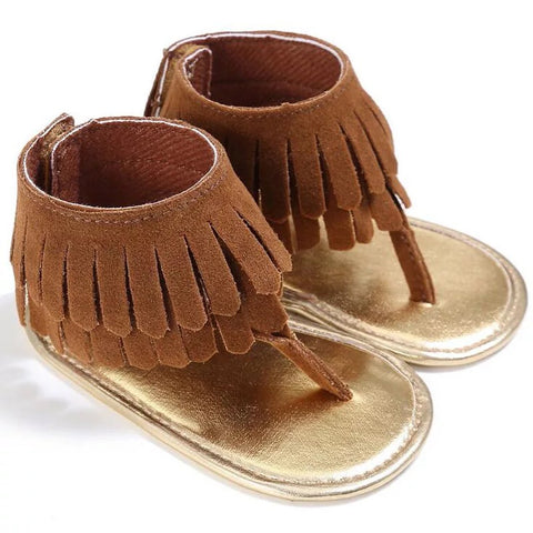 Brown Boho Fringe Sandals