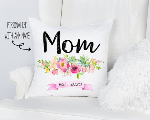 Mom Est. Personalized Mother's Day Pillow