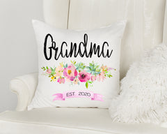 Grandma Est. Personalized Floral Pillow
