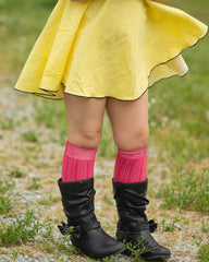 Bright Cable Knit Knee High Socks