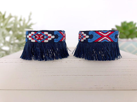 Girl's Red, White, and Blue Fringe Anklets