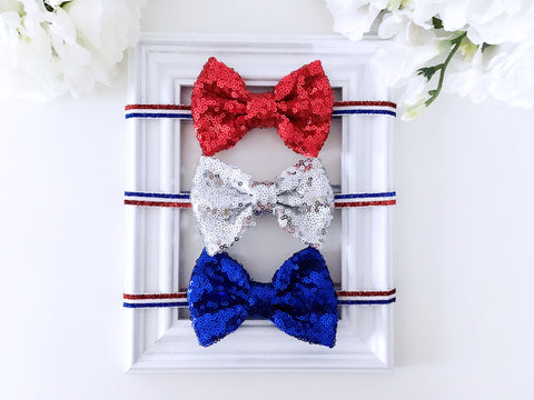 4th of July Sequin Bow Headband