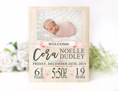 Baby Girl Birth Stat Plaque
