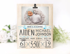 Baby Boy Birth Stat Photo Plaque
