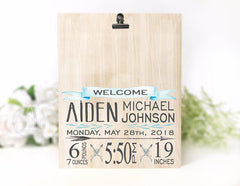 Baby Boy Birth Stat Plaque