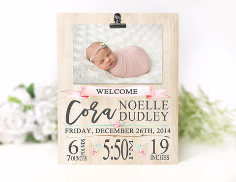 Baby Girl Birth Stat Photo Plaque