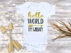 Boy's Hello World Newborn Take Home Bodysuit