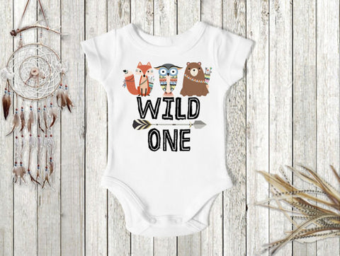 Boy's Wild One Woodland Animals First Birthday Top