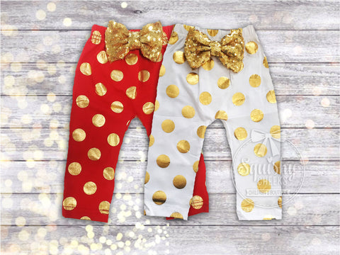 Red & Gold or White & Gold, Newborn-2T Polka Dot Leggings