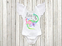 Girl's Personalized Dinosaur Birthday Top