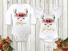 Girl's Reindeer Personalized Top