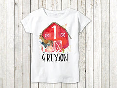 Boy's Personalized Barn Farm Animal Birthday Outfit