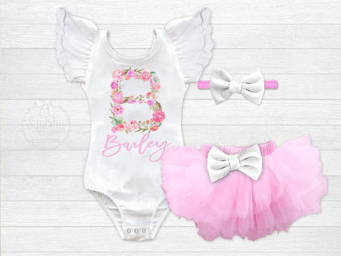 566ef298ee3 Girl s Personalized Floral Monogram Outfit