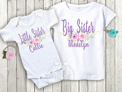 Floral Lavender Big and Little Sister Shirts Set