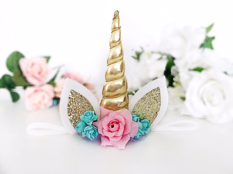Gold Unicorn Headband or Hair Clip
