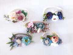 Floral Nylon Headband Pink and Blue