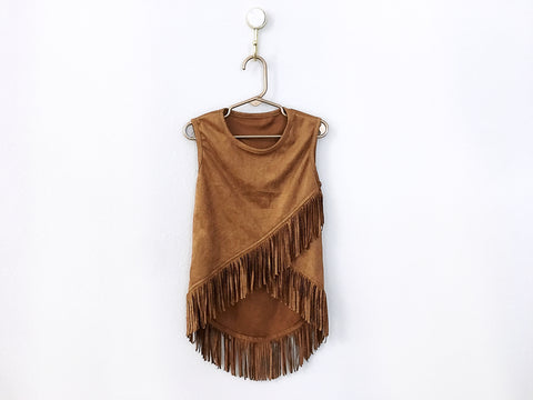 BLOWOUT: Brown Suede Fringe Tank