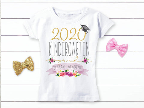 Girls Personalized Kindergarten Graduation Shirt